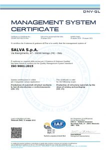 SALVA S.p.A. - Quality Management System ISO 9001:2015